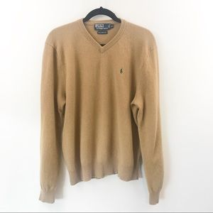 Polo Ralph Lauren Lambs Wool Camel Vneck Sweater
